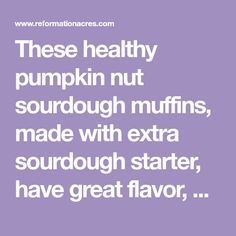 These healthy pumpkin nut sourdough muffins, made with extra sourdough starter, have great flavor, a moist texture, and nutty crunch. Honey And Cinnamon, Healthy Pumpkin, Sourdough Bread, Pumpkin Puree, Reformation, Muffins, Texture, Recipes, Sweet