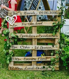 DIY pallet order of service I made for our rustic wedding