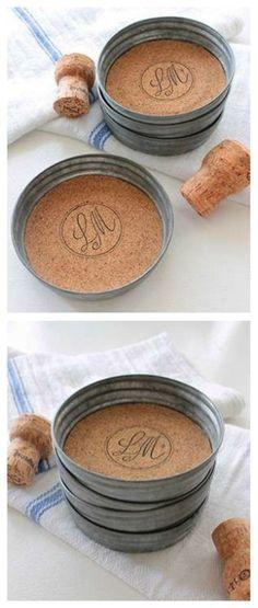 10. DIY Mason Jar Lid Coasters!