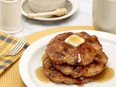 Oatmeal Cookie Pancakes - just made these with GF flour, vegan sour cream, EnerG egg replacer and Earth Balance buttery spread!  THEY ARE DELICIOUS!!!