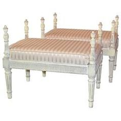 Louis XVI Style Pair of Carved and Painted French Benches