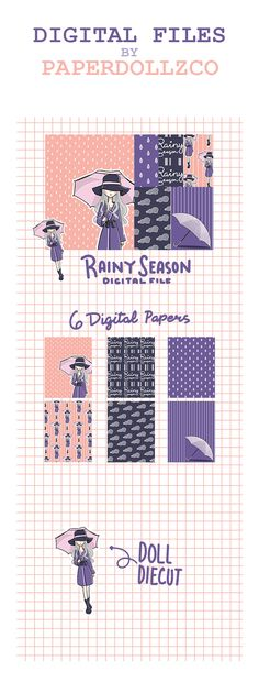 Rainy Day Digital File for Planner Girls - Mulberry Fun Crafts, Arts And Crafts, Trending Crafts, Trending On Pinterest, Craft Business, Sell On Etsy, Planner Stickers, Paper Dolls, Free Printables