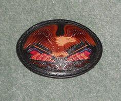 Men's Vintage Black Leather UNITED STATES EAGLE Tooled Crest Belt Buckle, GUC!