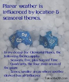RPG Blog Carnival, Part 1: Planar Weather. For more details, see Tales of a GM.
