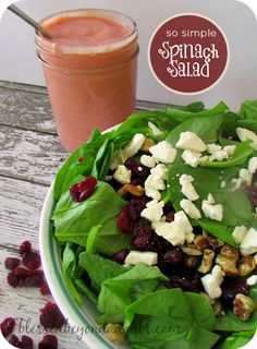 My favorite easy spinach salad that, we love all year long! DIY homemade dressing recipe, too!