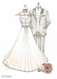 Wedding Dress, Tux, & Bouquet Sketch -Wedding Dress Sketch-Paper Anniversary Gifts For Her, Wedding Gifts From Groom To Bride, Bridal Shower Gift. Click here to see more: https://www.etsy.com/listing/197871715/wedding-dress-tux-bouquet-sketch-paper?ref=shop_home_active_19  #weddingdressketch #oneyearanniversarygift #paperanniversarygift #weddingdaygift #bridalshowergift