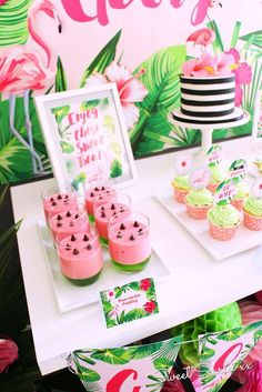 Tropical Flamingo Birthday Party | CatchMyParty.com