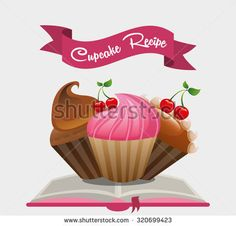 cupcake recipe book design, vector illustration eps10 graphic