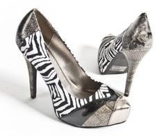 Qupid Women's Faux Suede Snake Skin High Heel Platform Pump Stiletto Shoes, Zebra Pewter Patent Leather, 7.5 M US