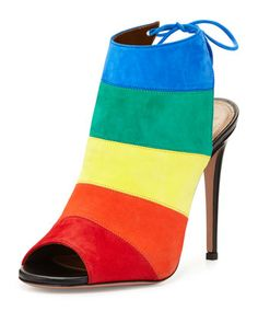 Rainbow Striped Suede Sandal, Multi by AQUAZZURA at Neiman Marcus.