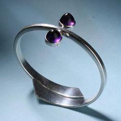 Bracelet | Hans Hansen. Sterling silver and amethysts. ca. 1950s, Denmark.