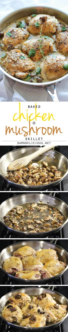 Baked Chicken and Mushroom Skillet - The most flavorful chicken topped with the creamiest mushroom sauce. An easy meal for those busy weeknights!
