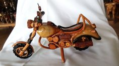 """Hand Carved Wood Model Motorcycle Harley Davidson Toy Gift Display 12"""""""