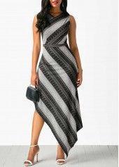 Sleeveless V Neck Printed Asymmetric Hem Dress | Rosewe.com - USD $33.53