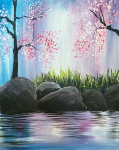 Delicate riverbed painting with sweet pink flowering trees.