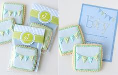 aqua + green: Vintage Bunting Baby Shower by Glorious Treats--love the bunting sugar cookies & the packaging