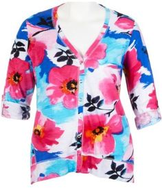 T  O Plus Floral Snap Front Cardigan PINK MULTI 2X T #x0026; O. $24.99