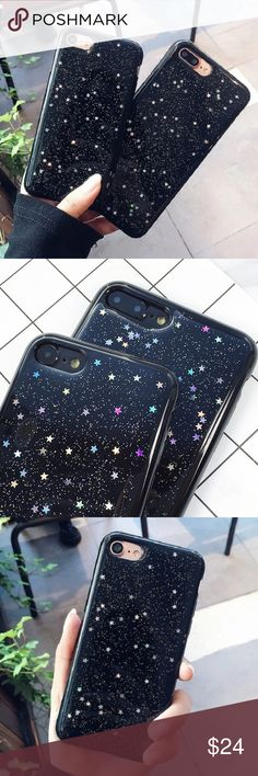 """Black sparkly star iPhone 6/6s - 7 - Plus case •sizes: iPhone 6/6s (4.7"""") iPhone 7 (4.7"""") iPhone 6 Plus (5.5"""") iPhone 7 Plus (5.5"""") •flexible silicone •phone not included •no trades *please make sure you purchase the correct size case. i am not responsible if you purchase the wrong size item #: 119 B-Long Boutique Accessories Phone Cases"""