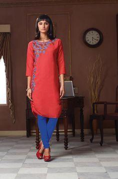 Red Poly Linen Designer Readymade Kurti 63923
