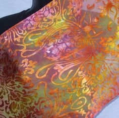 Hand Dyed Silk Scarf in Art Nouveau Devore by sherrybingaman, $25.00