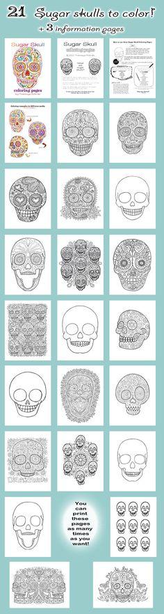 Sugar Skull Coloring Pages for el Dia de los Muertos #dayofthedead