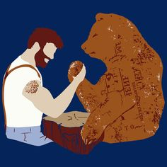 Sharp Shirter, Inc Funny Bear Poster Rustic Theme Animal Wall Art Mancave Decor Woodland Print Arm Wrestling Blue Funny Bears, Poster Prints, Art Prints, Bear Art, Screen Printing, Graphic Tees, Illustration Art, Wrestling, Mustache Styles