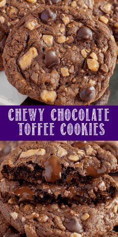 Toffee Cookies, Chocolate Chip Cookies, Chocolate Chips, Heath Bar Cookies, Shortbread Cookies, Chocolate Ganache, Candy Bar Cookies, Almond Cookies, Dessert Simple