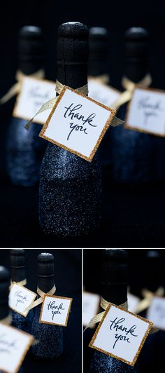 22 GORGEOUS GLITTER WEDDING IDEASMini Sparkling Wine Bottle Wedding Favors     we ❤ this!  moncheribridals.com  #weddingfavors #glitterweddingideas