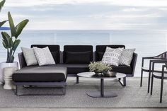 Contemporary #summer style with the West Bay Outdoor Sofa and Ottoman. #CocoRepublic #outdoor #home #terrace