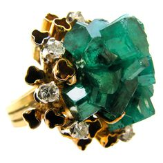 Emerald and Gold Cocktail Ring c1960