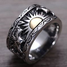 Lion head ring  Lion ring for man  Ring for man  Bikers ring  Silver     Men s Sterling Silver Sun Band Ring