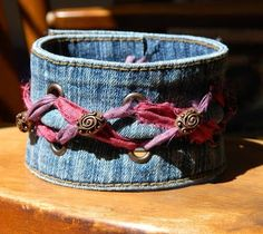 One Kiss Creations Beaded Jewelry: Reclaimed Sari Ribbon Denim Cuff