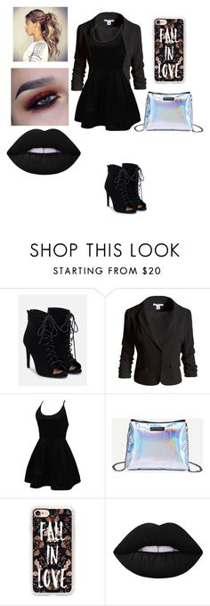 """Night Out"" by tumblrgirl223 on Polyvore featuring JustFab, Sans Souci, WithChic, Casetify and Lime Crime"