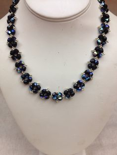 Jet Aurora Borealis Fire Polish Beads Embellished with Silver Woven Necklace by Euphorica by Teresa Caine Jewelry Designs