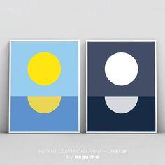 Geometric Landscape Noon Midnight Sun Moon Set Of 2 Prints