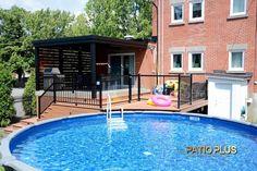 Patio Plus   Patio de Picsine Above Ground Pool Decks, In Ground Pools, Backyard Landscaping, Backyard Ideas, Patio Plus, Outdoor Decorations, Railings, Landscape Design, Anniversary