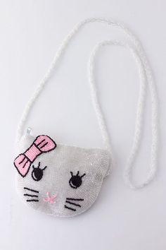 Hello Kitty Purse Bag ~ Hello Kitty White Beaded Sling Shoulder Bag