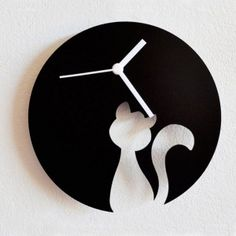 Buy online Silhouette - Silhouette couple sitting on the moon wall clock from Fab Furnish. Buy Clock from Peacock Colours, Fabindia, Lime Road, Rangrage. Unusual Clocks, Cool Clocks, Cat Clock, Clock Art, Cat Crafts, Wood Crafts, Oversized Clocks, Wall Watch, Modern Clock