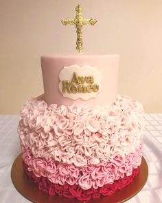 Ruffled Christening Cake