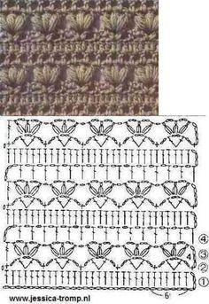 CROCHET - Lovely Feminine Wide Boarder Lattice Stitch Pattern (Asian Pattern, Found on Russian Website (allmyhobby. Learning The Craft Of Crochet Stitches – Love Crochet & Knitting Col Crochet, Crochet Chart, Crochet Diagram, Crochet Motif, Free Crochet, Patron Crochet, Crochet Edging Patterns, Stitch Patterns, Knitting Patterns