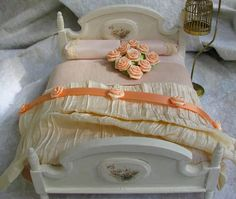 Bed and Bedding for the Dollhouse Miniature Lover.