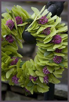 Green and Purple Wreath. Purple Wreath, Floral Wreath, Green Wreath, Seed Pods, Wreath Crafts, Summer Wreath, How To Make Wreaths, Green And Purple, Door Wreaths