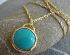 Pendant  Golden and Turquoise Pendant by AurumJewelry on Etsy, $105.00