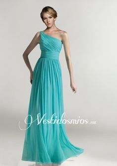 Chiffon Formal Solo Hombro Fruncido Azul Largo Vestido Formal VP125 [VP125] - Mex$2,167.26 :