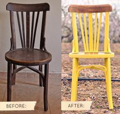 before & after: yellow chair via Design * Sponge New Furniture, Furniture Projects, Furniture Makeover, Painted Furniture, Wooden Chair Makeover, Chair Redo, Diy Projects, Chaise Diy, Do It Yourself Inspiration