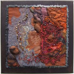 "Igneous rock-rockpools by Helen Suzanne...piece measures 12"" x 12"" and is created mostly from hand-dyed silk with machine embroidery and beading."