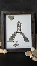 Handmade Bespoke Unique Love Wedding Gift Cornwall Beach Pebble Art Box Frame