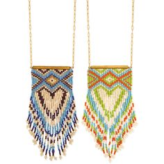 "Native American inspired gold metal chain with peyote stitch southwest design fringe pendant. 28"" - 30"" long, 2.25"" - 5.25"" pendant gold metal, glass blue or or"