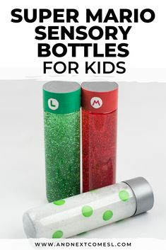 Looking for easy DIY calm down bottles for kids? Find out how to make these Super Mario Bros. themed calming sensory bottles with glitter for kids. Sensory Bottles Preschool, Sensory Activities For Autism, Sensory Wall, Sensory Bins, Infant Activities, Activities For Kids, Sensory Boards, Autism Resources, Mindfulness For Kids