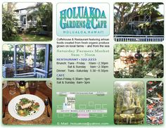 Holuakoa Gardens & Cafe in Holualoa, Hawaii: coffeehouse & restaurant featuring artisan food created from produce grown on local farms plus a Saturday Market